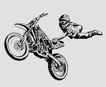 dirt bike: motorcycle jump on a gray background isolated