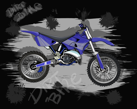 freeride: motorcycle for movement on rough terrain, and freestyle motocross Illustration