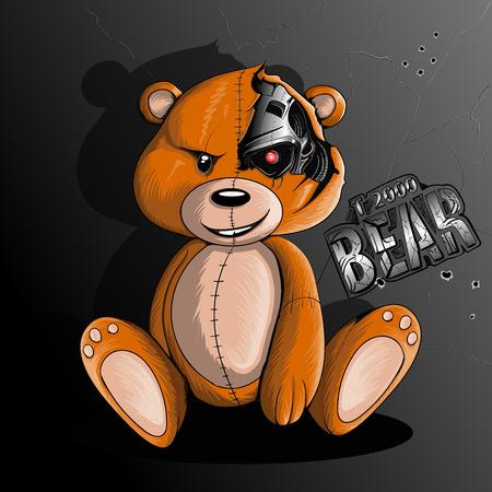 Bear terminator robot sits near a metal wall Illustration