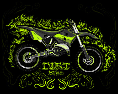 Dirt bike on a black background in the green naturalistic fire Illustration