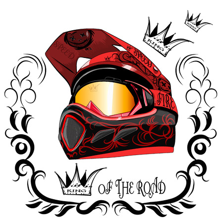 motocross: motorcycle helmet on a white background with a pattern in the background