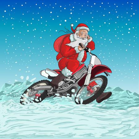 Kerstman op een motorfiets is racen voor het nieuwe jaar Stock Illustratie