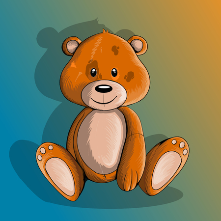 seated: teddy bear seated on a gradient background, isolated Illustration