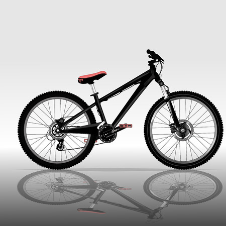 original bike: Bicycle on gray background with reflection on the floor