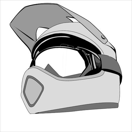 motocross riders: Illustration helmet safety for motorcycle racing. Illustration