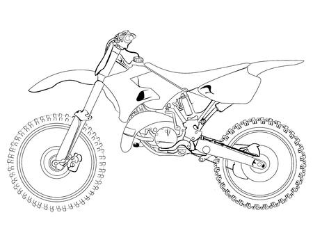 Dirt Bike schizzo su uno sfondo bianco, isolato, disegno, disegno Vettoriali