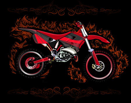 dirt bike: Dirt bike in red flames on a black background with a pattern