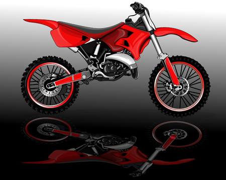 freeride: Illustration presentation of sports bike on the mirror surface Illustration