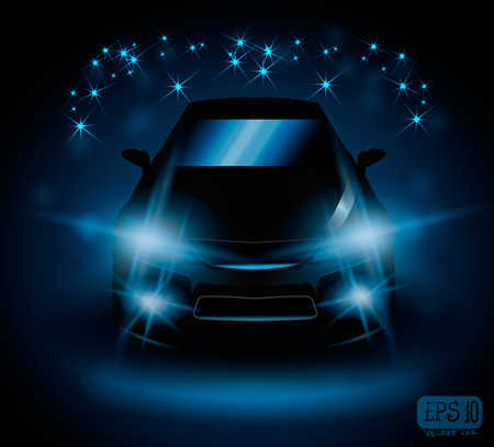blinded: black car on night field lights flash blue