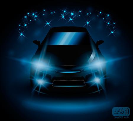 black car on night field lights flash blue