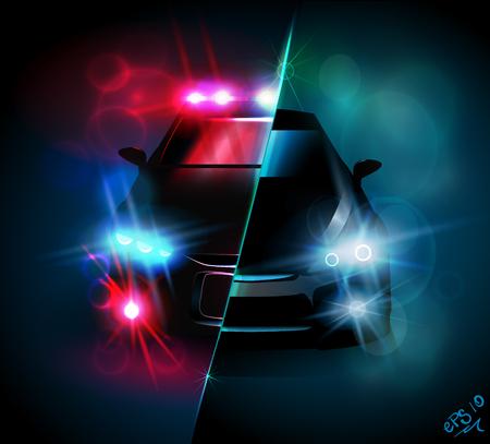 Konfrontation und Polizeireiter leuchten Lichter, helle Lichter