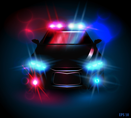 car silhouette: light from a police car on a black background