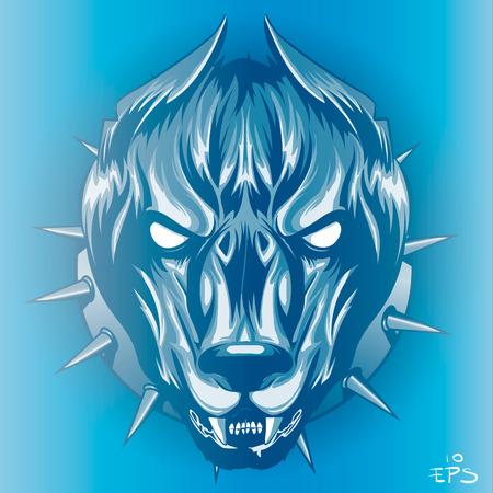 formidable: formidable dog in blue light, snarling