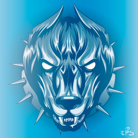 formidable dog in blue light, snarling