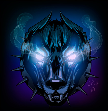 demonic dog with glowing eyes and smoke, for any project