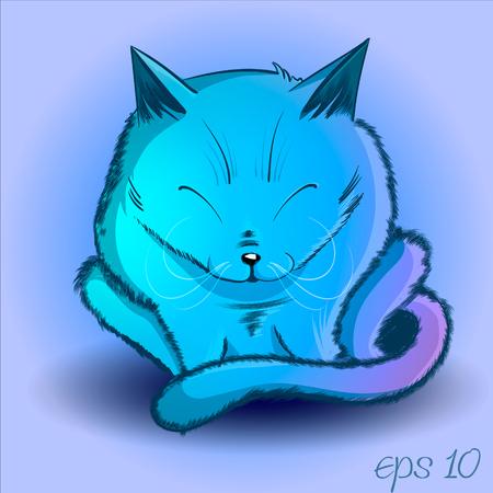 mystischen Katze lila, schlafend, schön