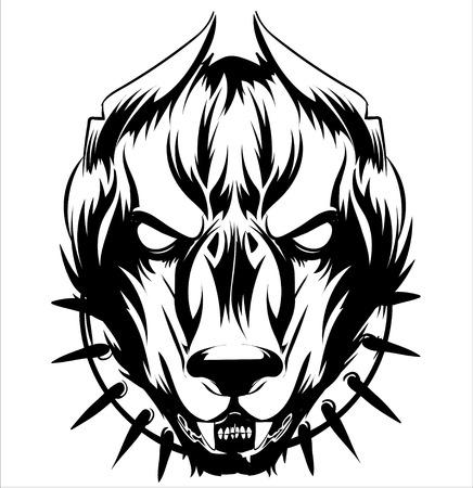 tête, tatouage abstrait de chien noir, isolé