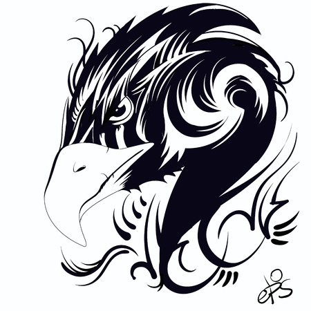 Abstract head eagle tattoo, label, black and white