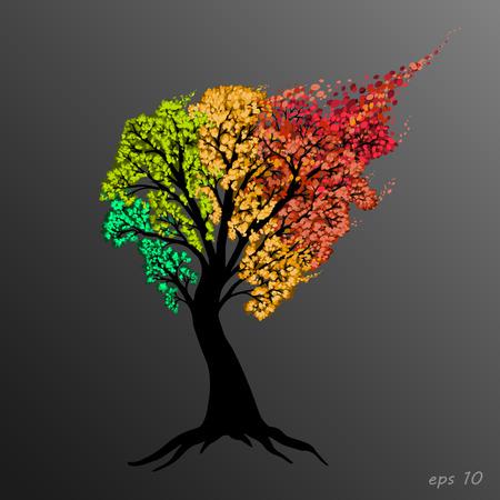 tree of life, seasons, beautiful multi-colored, vector, eps 10