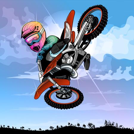 Motocross cartoon, grappig, voor elke nieuwe ideeën EPS 10 Vector Illustratie
