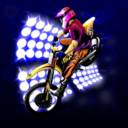 Motocross op de achtergrondlichten, mooie sprong naar het idee, EPS 10 Stock Illustratie