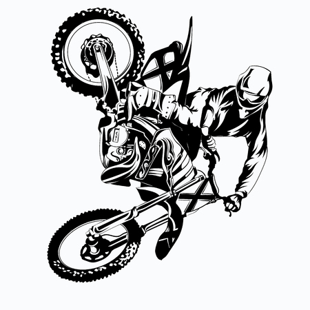 FMX, trick rider, on a white background, isolated eps 10 Illustration