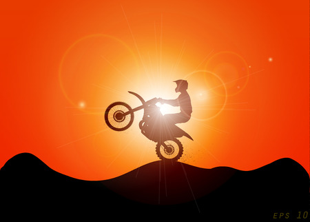 motorcycle and sunset, a beautiful jump in the sunlight, EPS 10