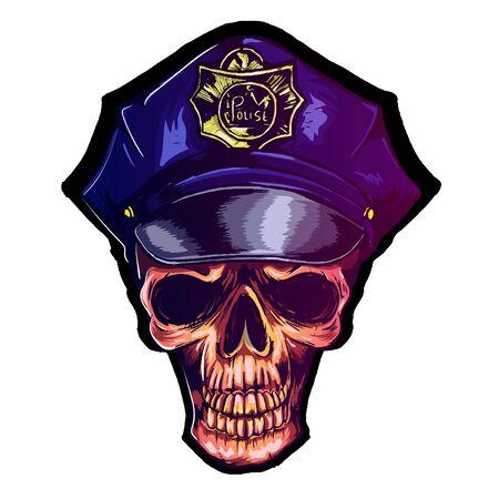 skull in police cap eps 10 police uniform Reklamní fotografie - 133535428