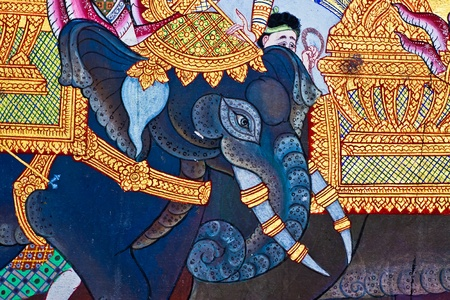 Vintage traditional Thai style art painting on temple