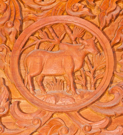 Traditional Thai style wood carving as rat one of 12 Zodiac,Generality in Thailand, any kind of art decorated in Buddhist church etc. created with money donated by people, no restrict in copy or use photo