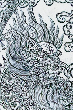 generality: Dragon painting on wall in temple, Generality in Thailand, any kind of art decorated in Buddhist church etc  created with money donated by people, no restrict in copy or use