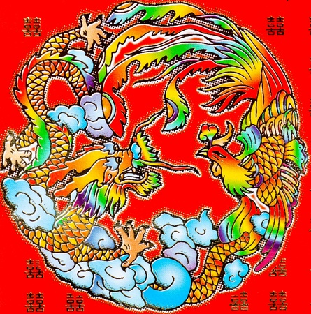 god of wealth chinese new year: Golden dragon and Swan on the red wall