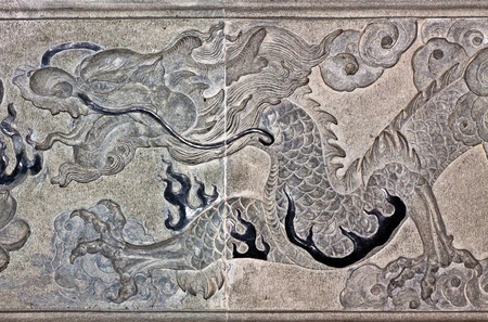 regius: Dragon carve  on wall expressing power and status in ancient China