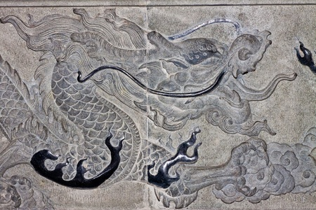 Dragon carve  on wall expressing power and status in ancient China  photo