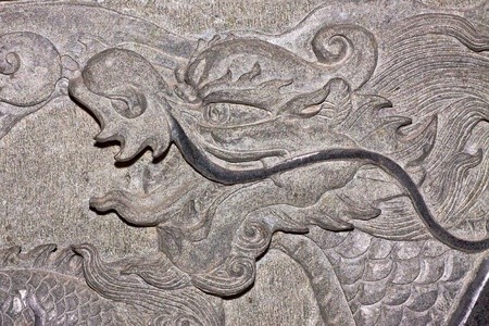 Dragon carve  on wall expressing power and status in ancient China Stock Photo - 13238166