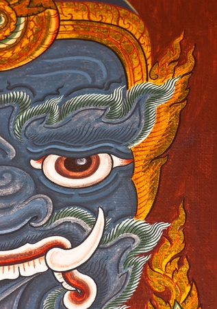 thai painting: The face of giants, Vintage traditional Thai style art painting on temple for background, Generality in Thailand, any kind of art decorated in Buddhist church etc  created with money donated by people, no restrict in copy or use