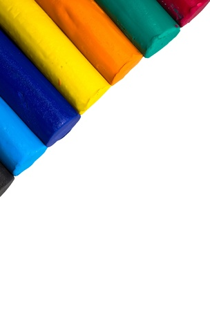 Colorful clay sticks isolated on white background  Stock Photo