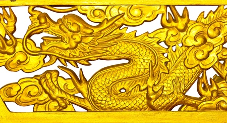 Golden Dragon isolated on a white background  photo
