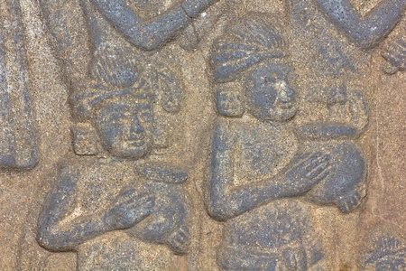 Vintage traditional Thai native art carved  in the temple  photo