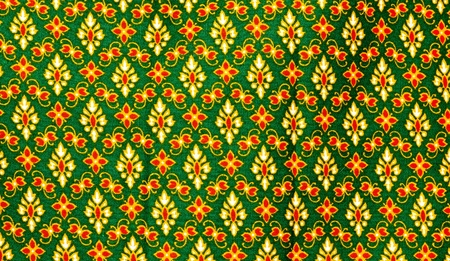 Vintage traditional Thai pattern of the fabric and background  photo