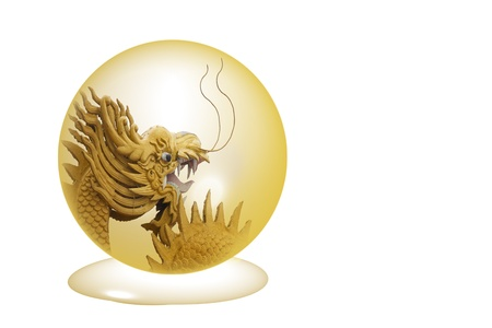 Golden Dragon in crystal ball isolated on a white background Stock Photo