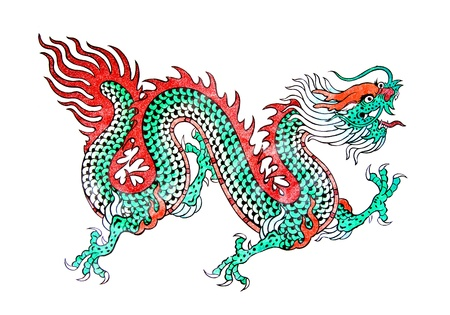 Dragon painting, Art Chinese style painting on wall in temple