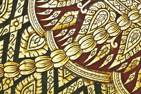 generality: Vintage traditional Thai style art painting on temple for background, Generality in Thailand, any kind of art decorated in Buddhist church etc  created with money donated by people, no restrict in copy or use Editorial
