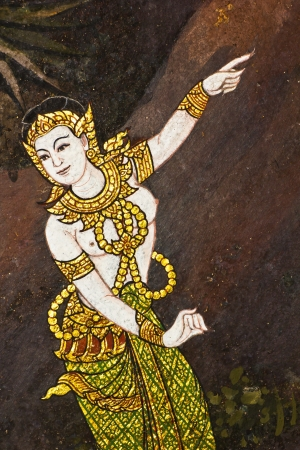 Vintage traditional Thai style art painting on temple for background, Generality in Thailand, any kind of art decorated in Buddhist church etc  created with money donated by people, no restrict in copy or use