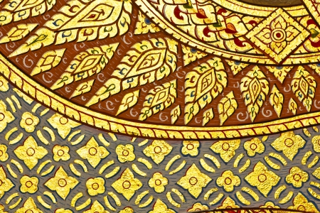 generality: Vintage traditional Thai style art painting on temple for background, Generality in Thailand, any kind of art decorated in Buddhist church etc  created with money donated by people, no restrict in copy or use Stock Photo