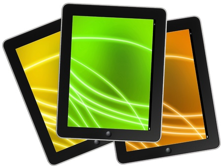 Touch screen device isolate on white background  Stock Photo