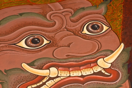 generality: The face of giants Vintage traditional Thai style art painting on temple, Generality in Thailand, any kind of art decorated in Buddhist church etc  created with money donated by people, no restrict in copy or use Stock Photo