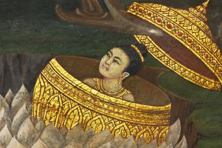 Vintage traditional Thai style art painting on temple for background