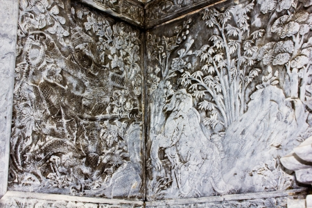 Native art carved on the wall in the temple, Generality in Thailand, any kind of art decorated in Buddhist church etc  created with money donated by people, no restrict in copy or use photo