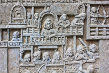 generality: Native art carved on the wall in the temple, Generality in Thailand, any kind of art decorated in Buddhist church etc  created with money donated by people, no restrict in copy or use Stock Photo